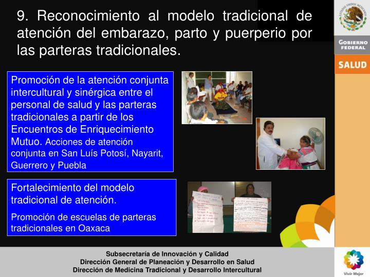 Promoción de la atención conjunta intercultural y sinérgica entre el personal de salud y las parteras tradicionales a partir de los Encuentros de Enriquecimiento Mutuo.