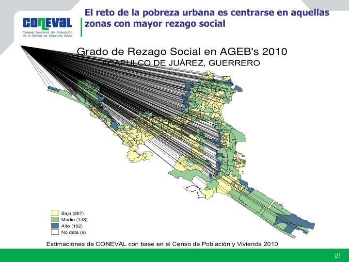 El reto de la pobreza urbana es centrarse en aquellas zonas con mayor rezago social