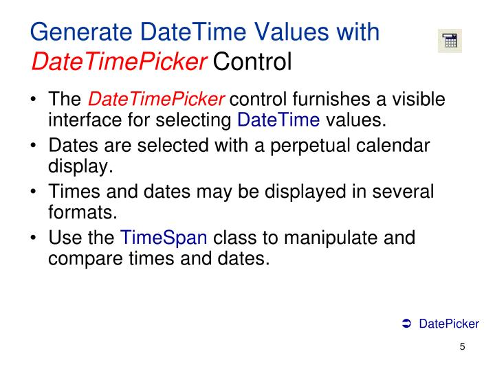 Generate DateTime Values with