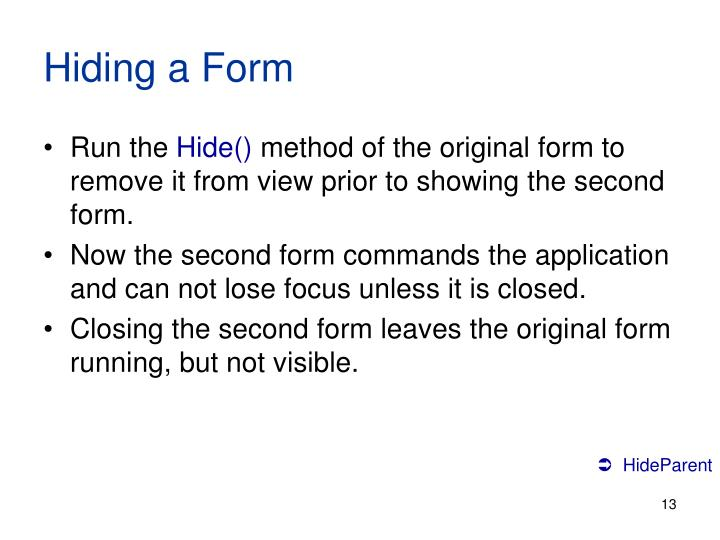 Hiding a Form