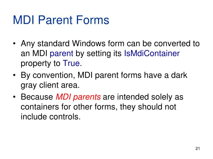 MDI Parent Forms