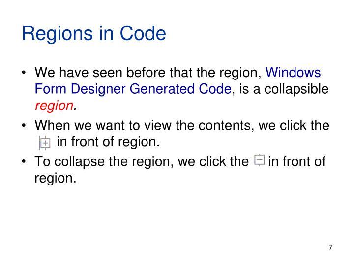 Regions in Code