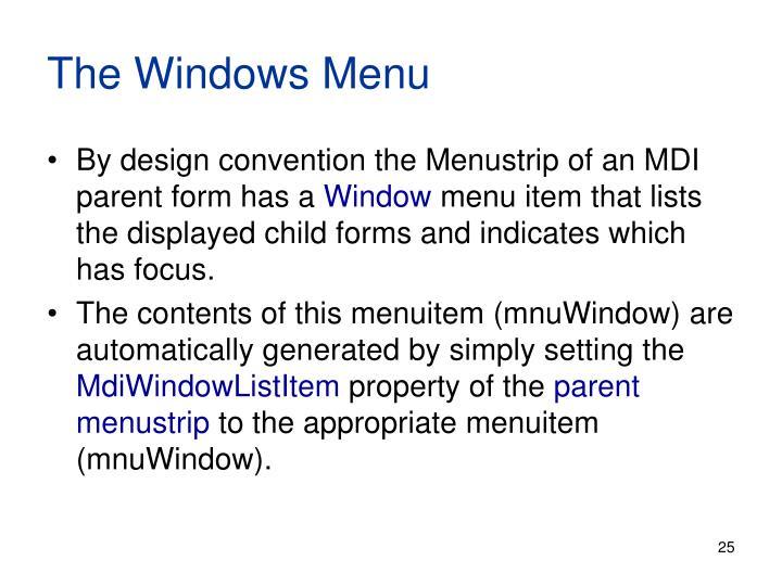 The Windows Menu