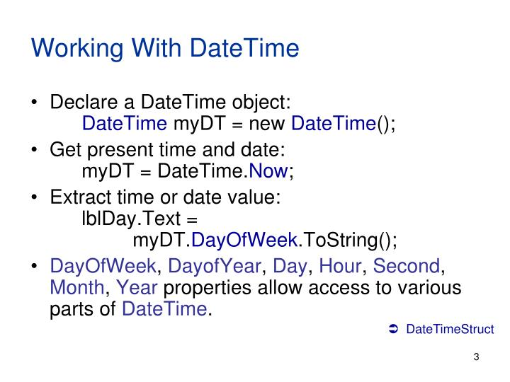 Working With DateTime