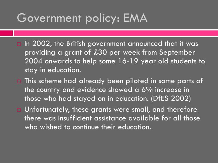 Government policy: EMA