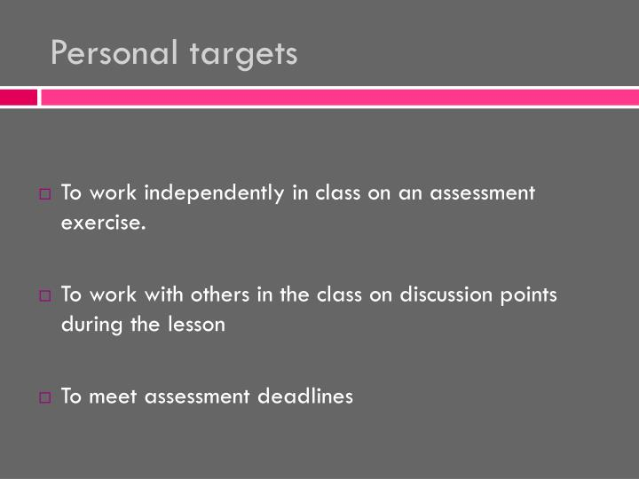 Personal targets