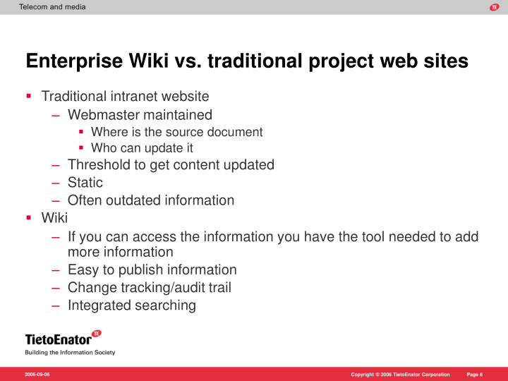 Enterprise Wiki vs. traditional project web sites