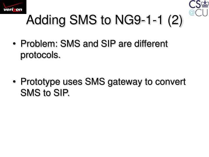 Adding SMS to NG9-1-1 (2)