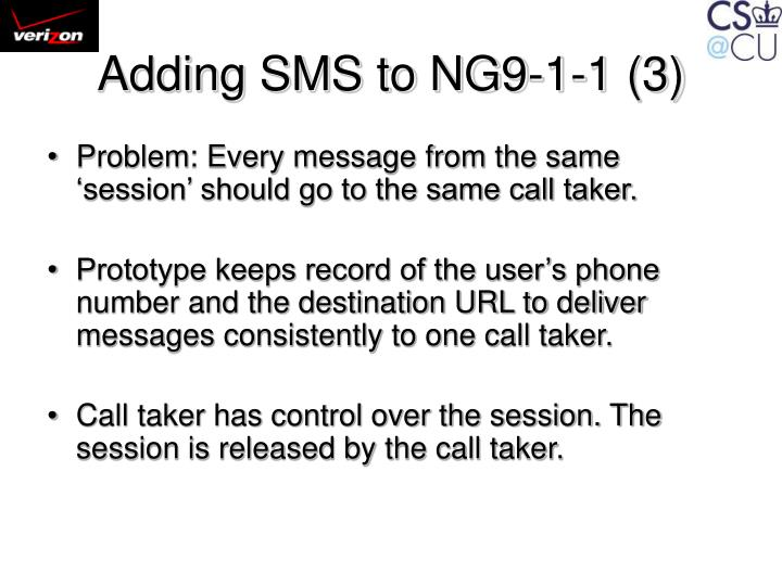 Adding SMS to NG9-1-1 (3)