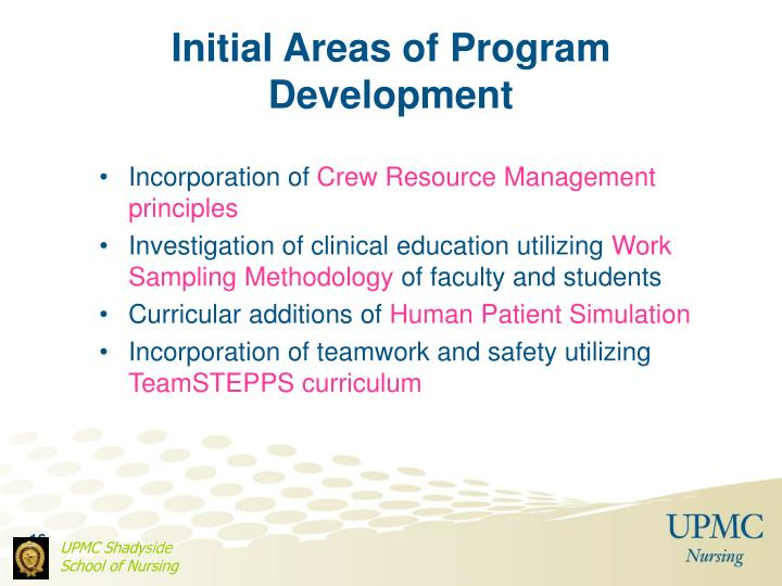 Initial Areas of Program Development