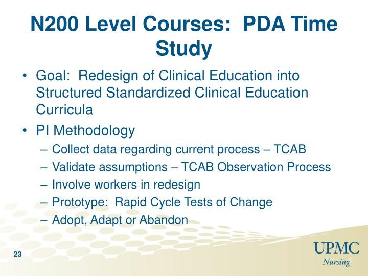 N200 Level Courses:  PDA Time Study
