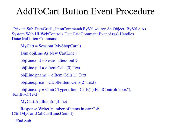 AddToCart Button Event Procedure
