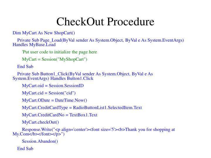 CheckOut Procedure