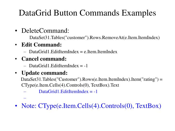DataGrid Button Commands Examples