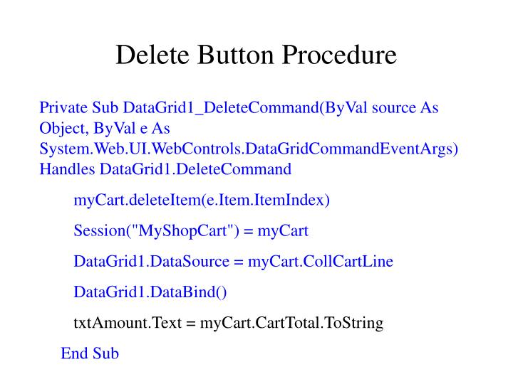 Delete Button Procedure