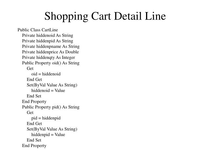 Shopping Cart Detail Line