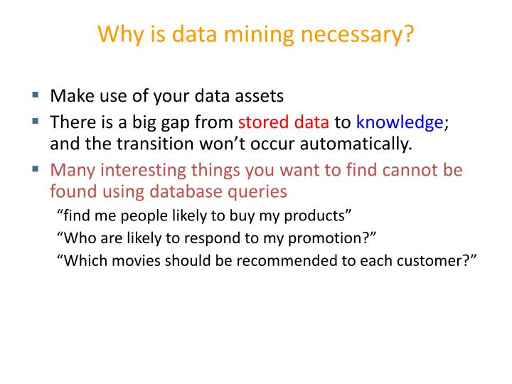 Why is data mining necessary?