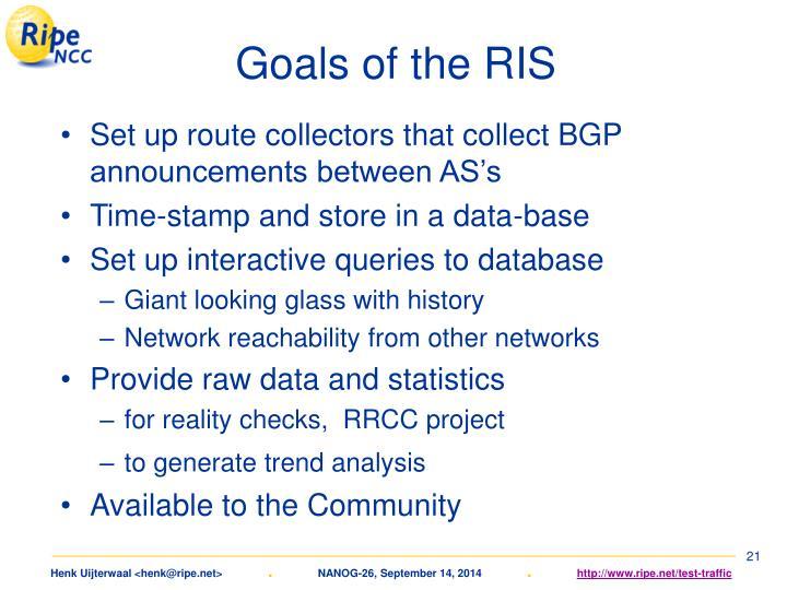 Goals of the RIS