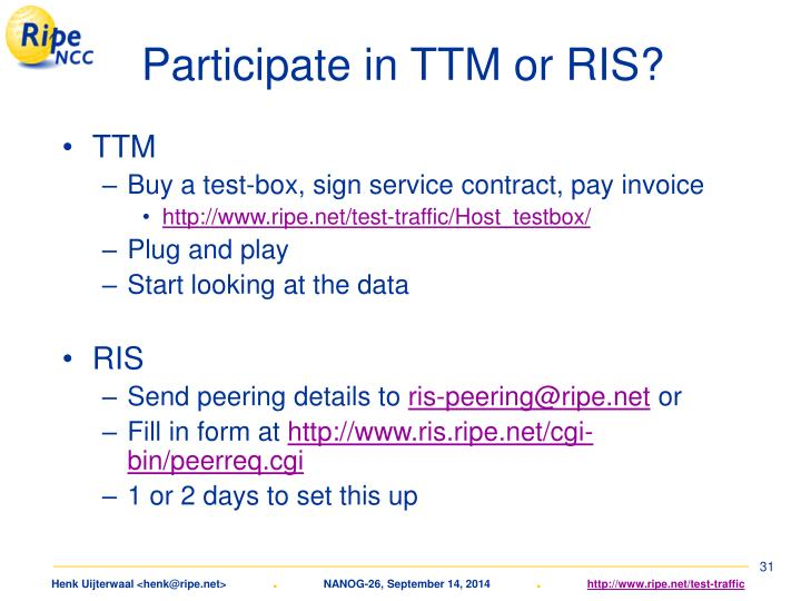 Participate in TTM or RIS?