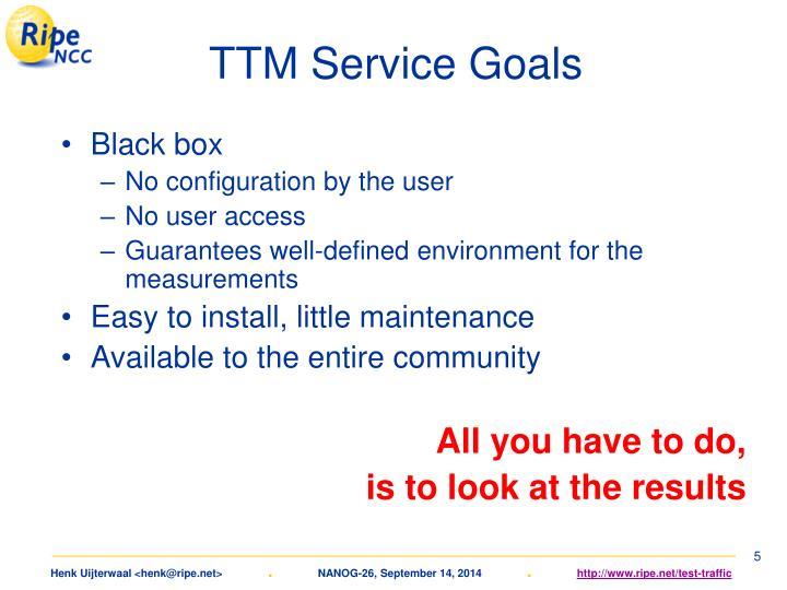 TTM Service Goals