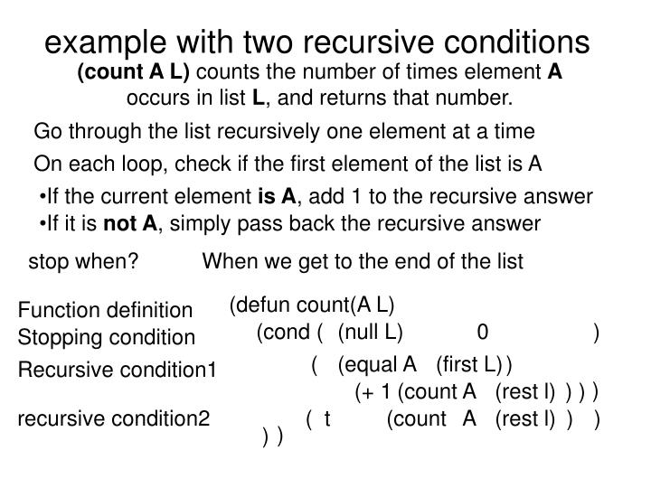 example with two recursive conditions
