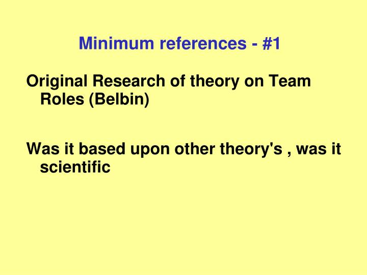 Minimum references - #1