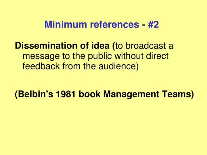 Minimum references - #2