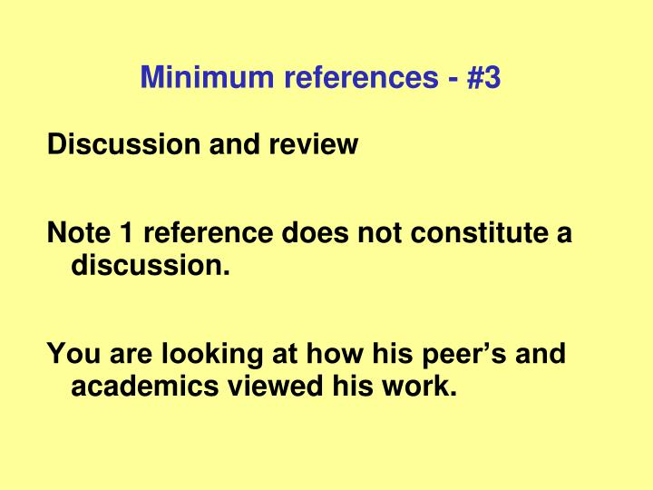 Minimum references - #3