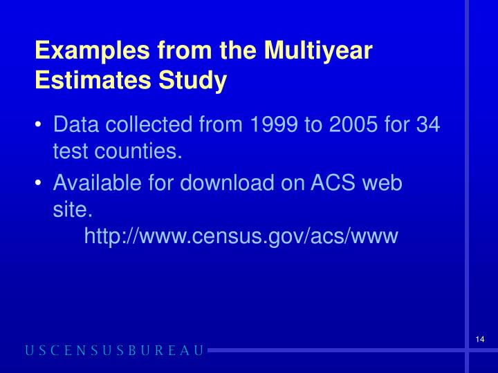 Examples from the Multiyear Estimates Study