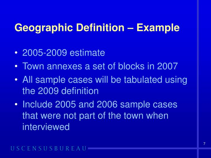 Geographic Definition – Example