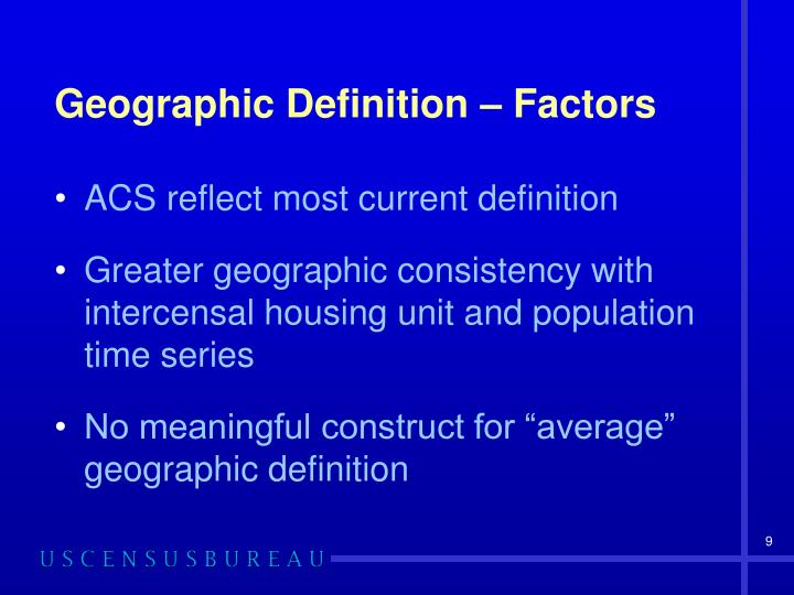 Geographic Definition – Factors