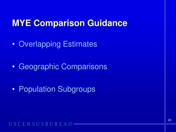 MYE Comparison Guidance