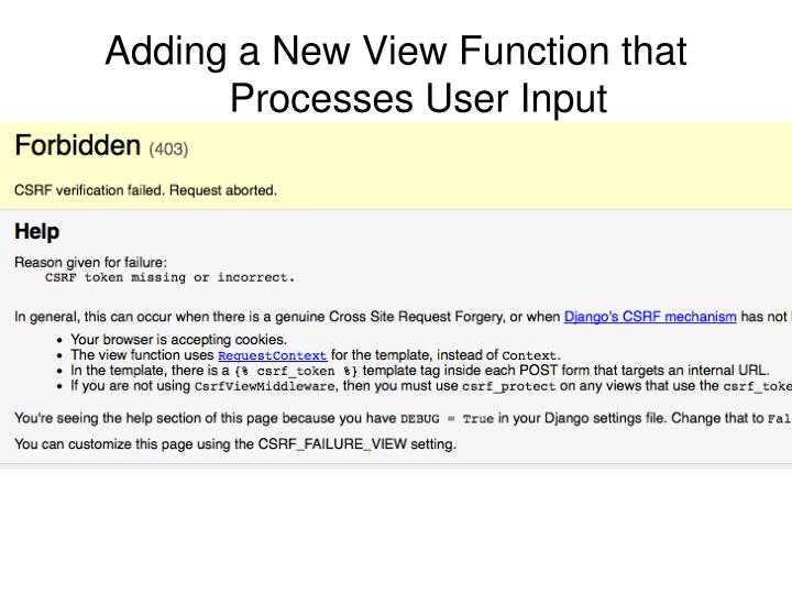 Adding a New View Function that Processes User Input