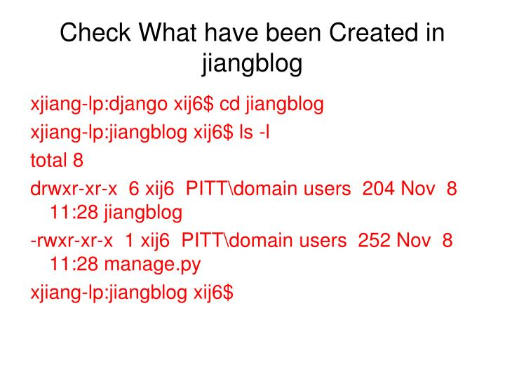 Check What have been Created in jiangblog