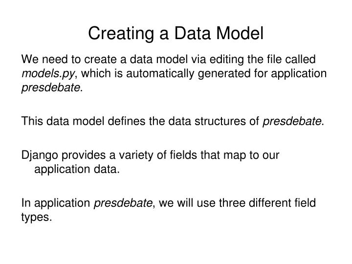 Creating a Data Model