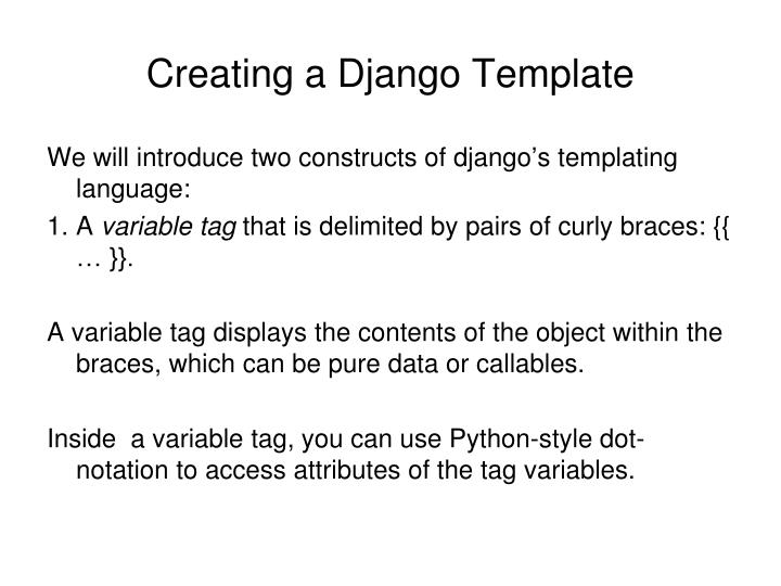 Creating a Django Template