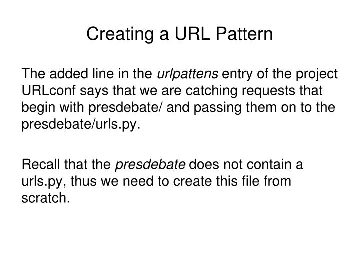 Creating a URL Pattern