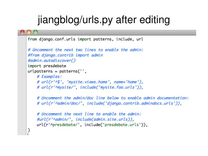 jiangblog/urls.py after editing