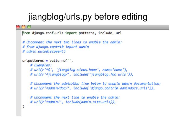 jiangblog/urls.py before editing