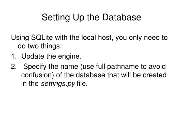 Setting Up the Database