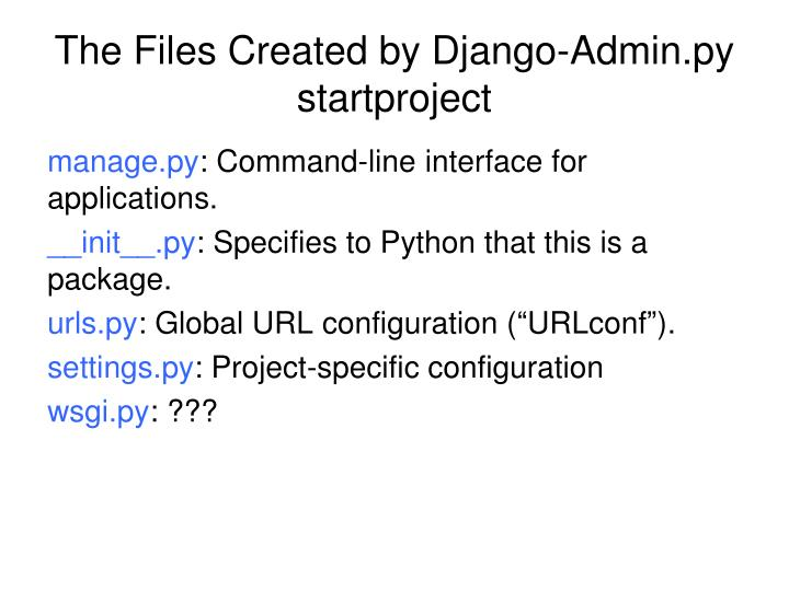 The Files Created by Django-Admin.py startproject