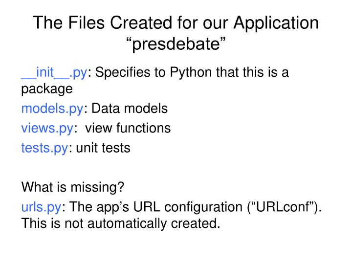 "The Files Created for our Application ""presdebate"""