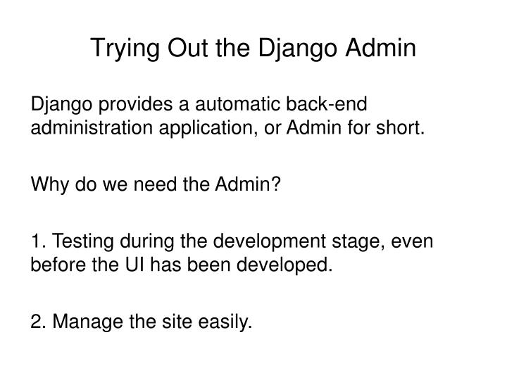 Trying Out the Django Admin