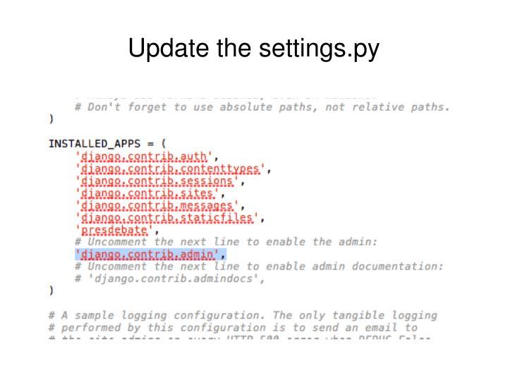 Update the settings.py