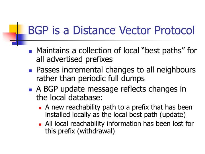 BGP is a Distance Vector Protocol