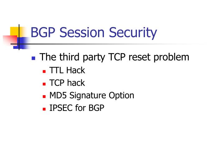 BGP Session Security