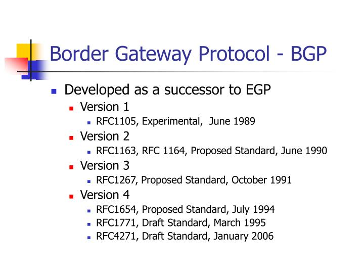 Border Gateway Protocol - BGP