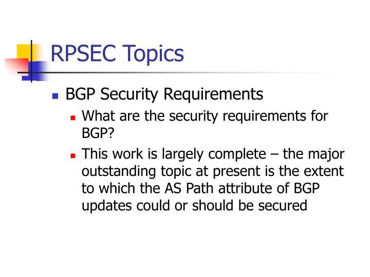RPSEC Topics
