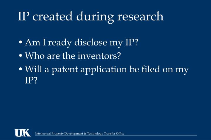 IP created during research