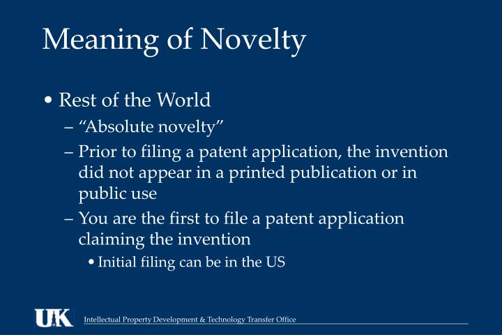 Meaning of Novelty